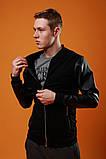 Мужской черный короткий бомбер с рукавами из кожи осень.Мужская черная ветровка демисезонная куртка, фото 2