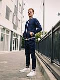 Тру-тренер Мужской синий в клетку спортивный костюм с лампасами демисезонный.Олимпийка+штаны синие осень, фото 2