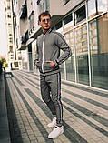 Тру-тренер Мужской синий в клетку спортивный костюм с лампасами демисезонный.Олимпийка+штаны синие осень, фото 6