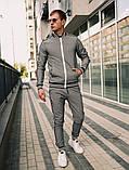 Тру-тренер Мужской синий в клетку спортивный костюм с лампасами демисезонный.Олимпийка+штаны синие осень, фото 7
