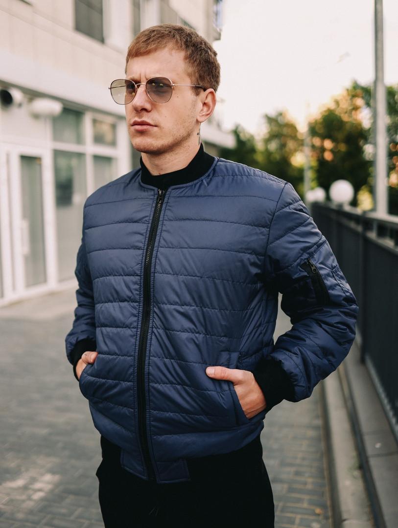 Мужская короткая стеганая куртка синяя с манжетами без капюшона осень/весна.Мужская синяя ветровка бомбер