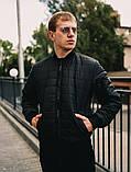 Мужская короткая стеганая куртка синяя с манжетами без капюшона осень/весна.Мужская синяя ветровка бомбер, фото 3