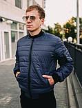 Мужская короткая стеганая куртка красная с манжетами без капюшона осень/весна.Мужская красная ветровка бомбер, фото 2