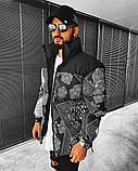 Premium quality Мужская черная стеганая куртка ветровка осень/зима удлиненная. Мужской черный пуховик, фото 2