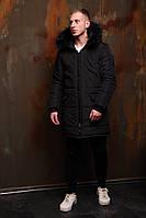Мужская черная стеганая длинная куртка на меху зима.Мужской стеганый черный демисезонный пуховик