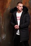 Мужская черная стеганая длинная куртка на меху зима.Мужской стеганый черный демисезонный пуховик, фото 2