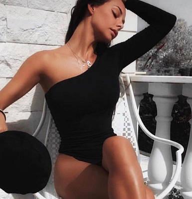 Женское облегающее боди на одно плечо с длинным рукавом