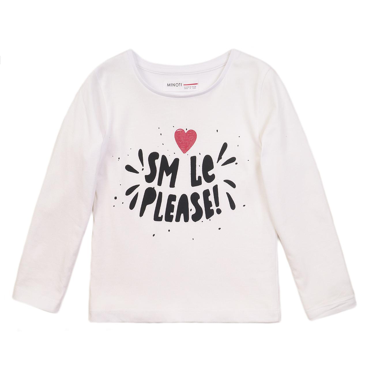 Детский белый лонгслив реглан для девочки 3-4 года, 7-8 лет