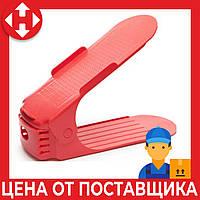 Двойная пластиковая стойка-подставка для хранения обуви - красный (ACC), фото 1