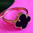 Золотое кольцо клевер с ониксом - Кольцо из золота  клевер с ониксом, фото 2