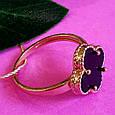 Золотое кольцо клевер с ониксом - Кольцо из золота  клевер с ониксом, фото 3