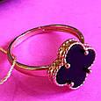 Золотое кольцо клевер с ониксом - Кольцо из золота  клевер с ониксом, фото 6