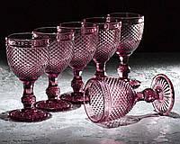 Набір келихів «Рубін», 320 мл, 9×9×17 см, 6 шт, колір рожевий