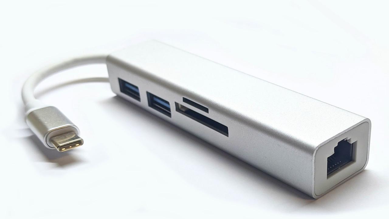 Переходник USB Type-C to Ethernet 1Gb + Hub + Card reader /rj45