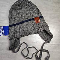 Шапка для мальчика на завязках на хлопковой подкладке Деми Весна-Осень Размер 48-50 см Возраст 2-4 года