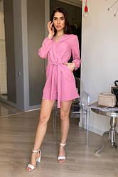 Женский розовый комбинезон летний с шортами
