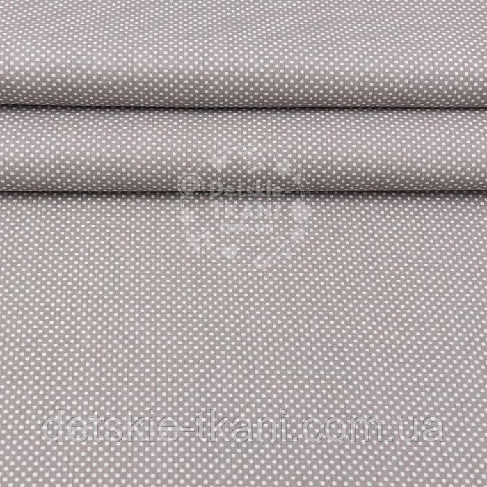"""Ткань хлопковая шириной 240 см """"Пшено"""" белое на сером (№3000)"""