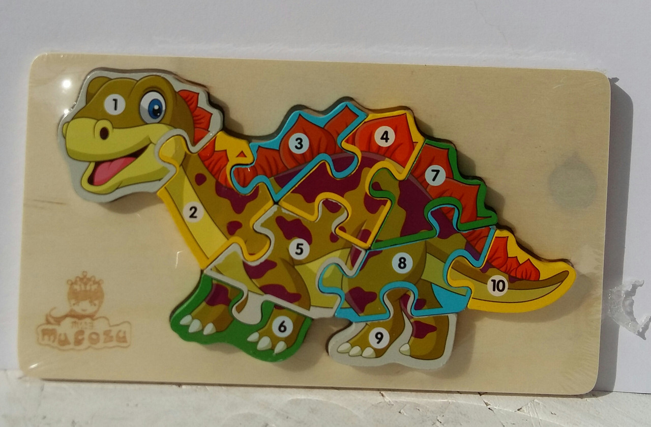 Деревянная игрушка Пазлы MD 2507 с нумерацией, динозавры