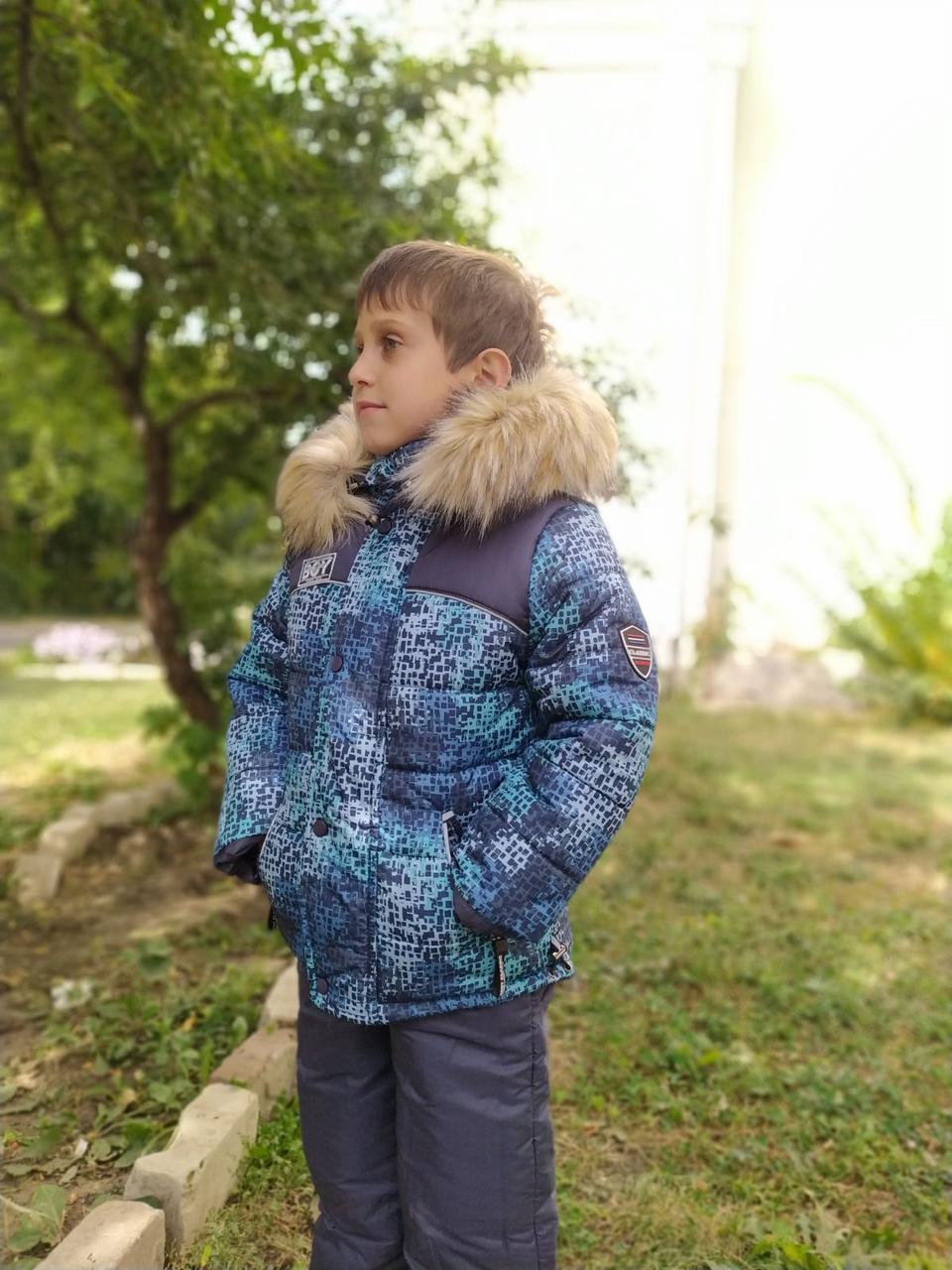Зимний комбинезон для мальчика, натуральная опушка, живые фото!