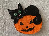 Брошка кот на тыкве на Хэллоуин, фото 1