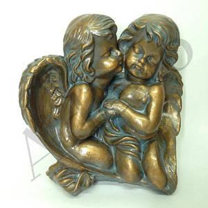 Фигура для сада Ангелочки пара на камнях 27 см