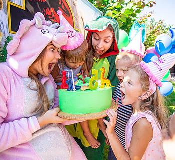 DINO-PARTY! Аниматоры ДИНОЗАВРЫ на день рождения. Детские праздники Киев.