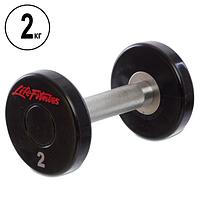 Гантель цельная профессиональная Life Fitness (1шт) 2кг (полиуретановое покрытие, вес 2кг), фото 1