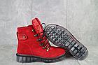 Женские ботинки замшевые зимние красные Mkrafvt, фото 4