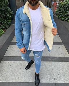 Куртка чоловіча джинсовий на хутрі (демисезон/еврозима)