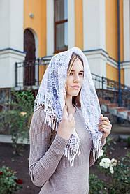 Женский платок в церковь на голову красивый кружевной с бахромой Ромашка белого цвета