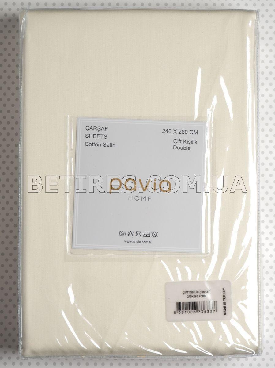 Простынь сатиновая 240x260 PAVIA SATEN4 ECRU кремовая