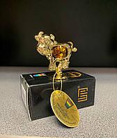 Статуетка Бика з жовтими кристалами Сваровскі. Символ 2021 року