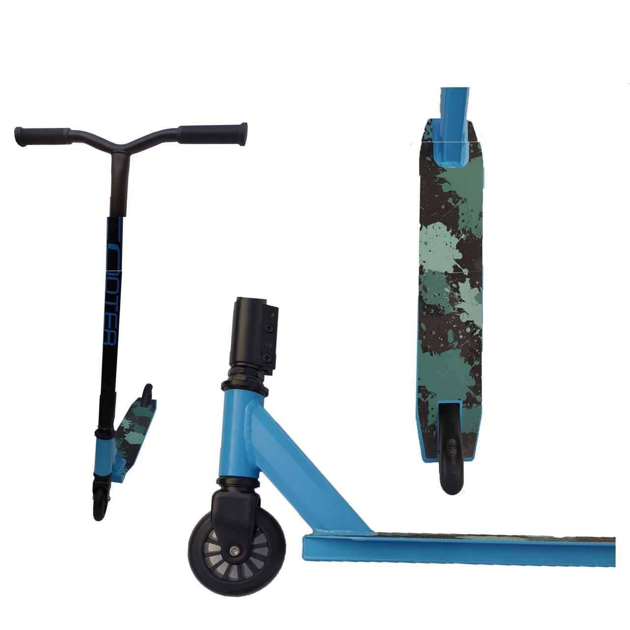 Трюковый самокат с колесами 100 мм голубой