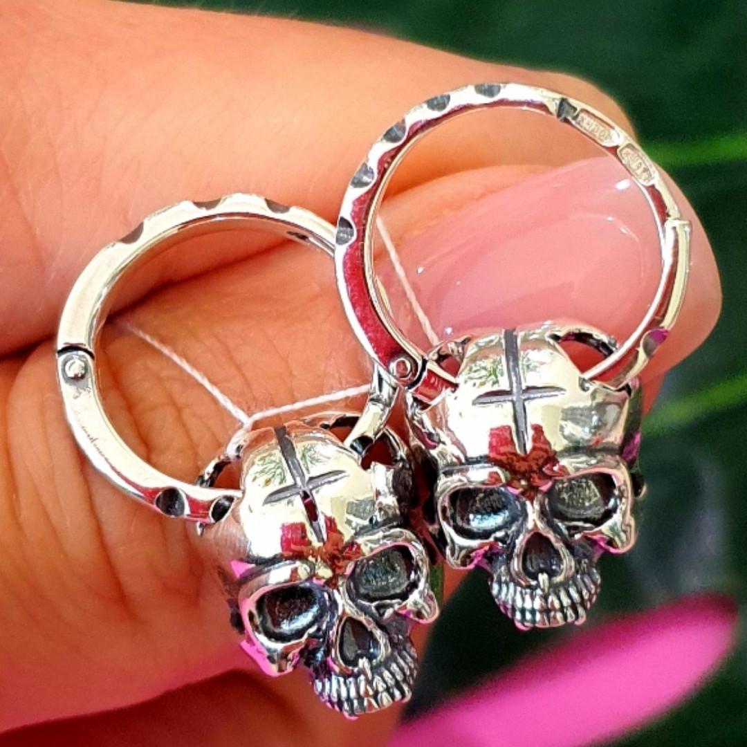 Чоловічі срібні сережки череп - Сережки з черепами срібло 925