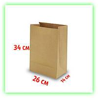 Бумажный крафт пакет без ручек с дном 260х140х340. Коричневый пакет на вынос для еды и косметики (50шт в уп.)
