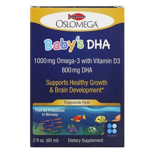 Омега3+ витамин D3  для деток, Oslomega Baby's DHA with Vitamin D3 60 мл