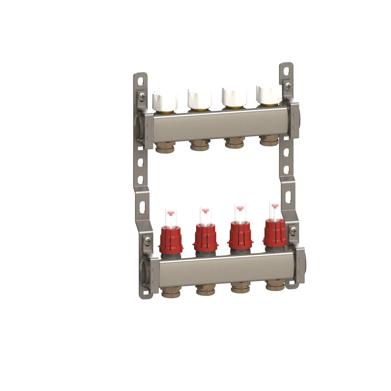 Коллектор в сборе нерж. сталь для подключ. 3 контура, с расход. и термоклап.