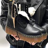 Ботинки зимние женские Dr. Martens Platform JADON теплые черные с мехом 36-40р. Фото в живую. Топ реплика