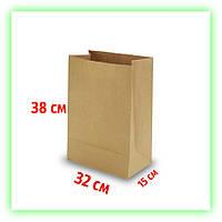 Бумажный крафт пакет без ручек с дном 320х150х380. Коричневый пакет с дном для еды и косметики (50шт в уп.)