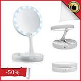 Зеркало косметическое настольное с подсветкой для макияжа Настольное макияжное зеркало с LED лампочками, фото 2
