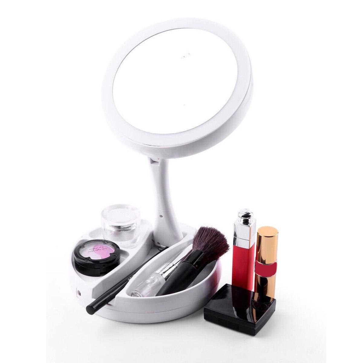 Зеркало косметическое настольное с подсветкой для макияжа Настольное макияжное зеркало с LED лампочками