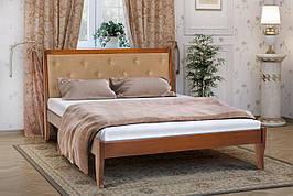 Двуспальная кровать деревянная с мягким изголовьем Флорида 180 Микс мебель , цвет орех / темный орех / белый