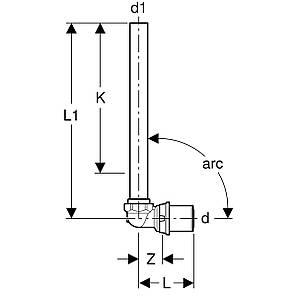 Кутова підводка до радіатора 90 ° Geberit Volex, L = 345мм, 16-глянцевий хром, фото 2