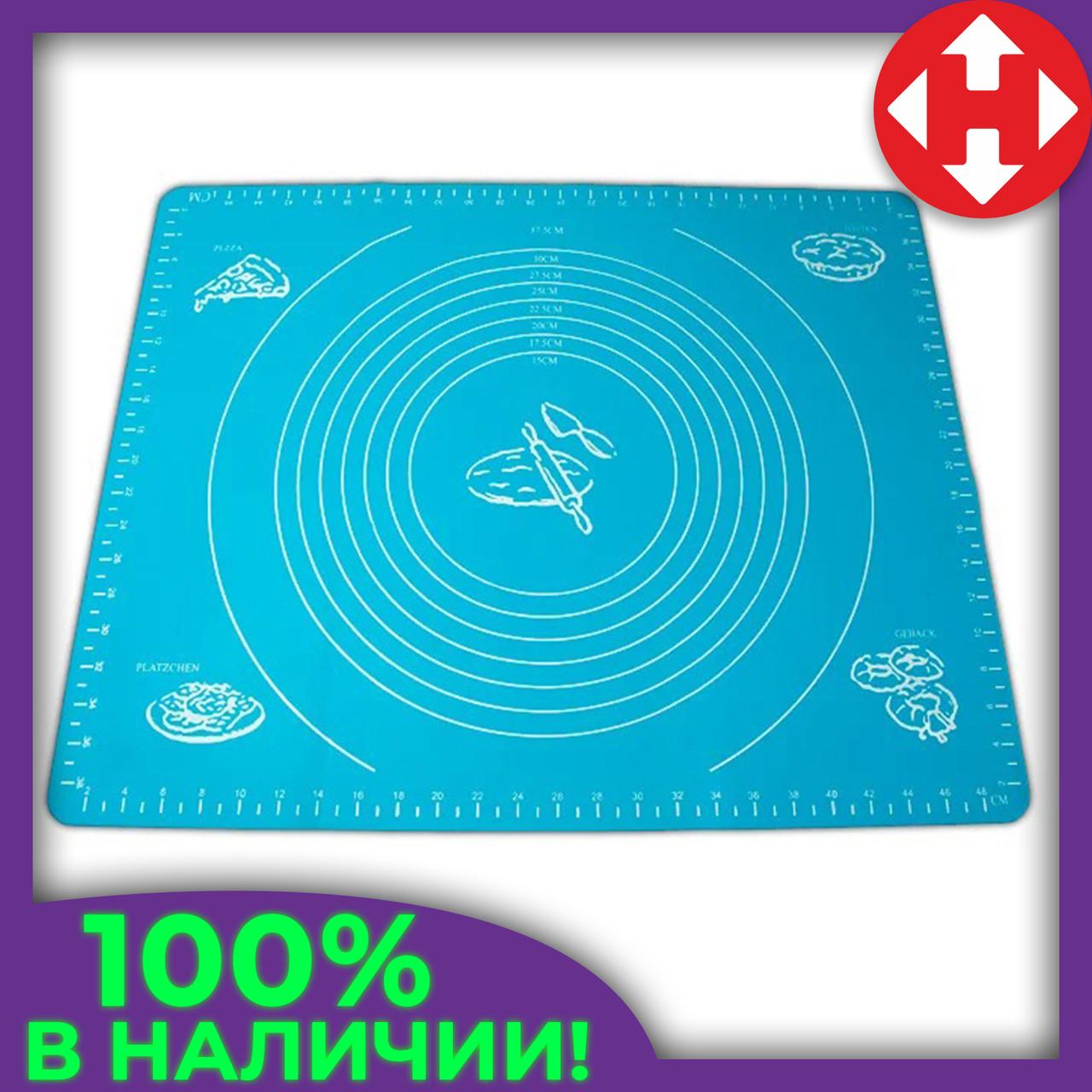 Коврик для выпечки - силиконовый коврик для раскатки теста и запекания в духовке синего цвета
