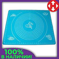 Коврик для выпечки - силиконовый коврик для раскатки теста и запекания в духовке синего цвета, фото 1