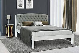 Двуспальная деревянная  кровать с мягким изголовьем Вирджиния 140 Микс мебель, цвет орех / темный орех / белый