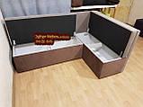Диван угловой для узкой кухни с ящиком + спальным местом 1100х1700мм, фото 3