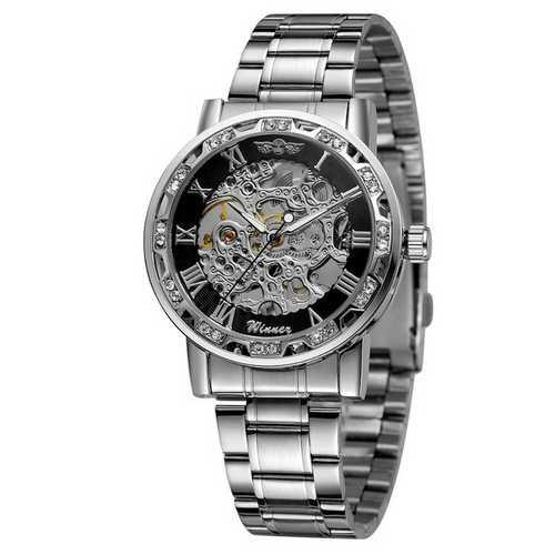 Winner 8012 Diamonds Automatic Silver-Black
