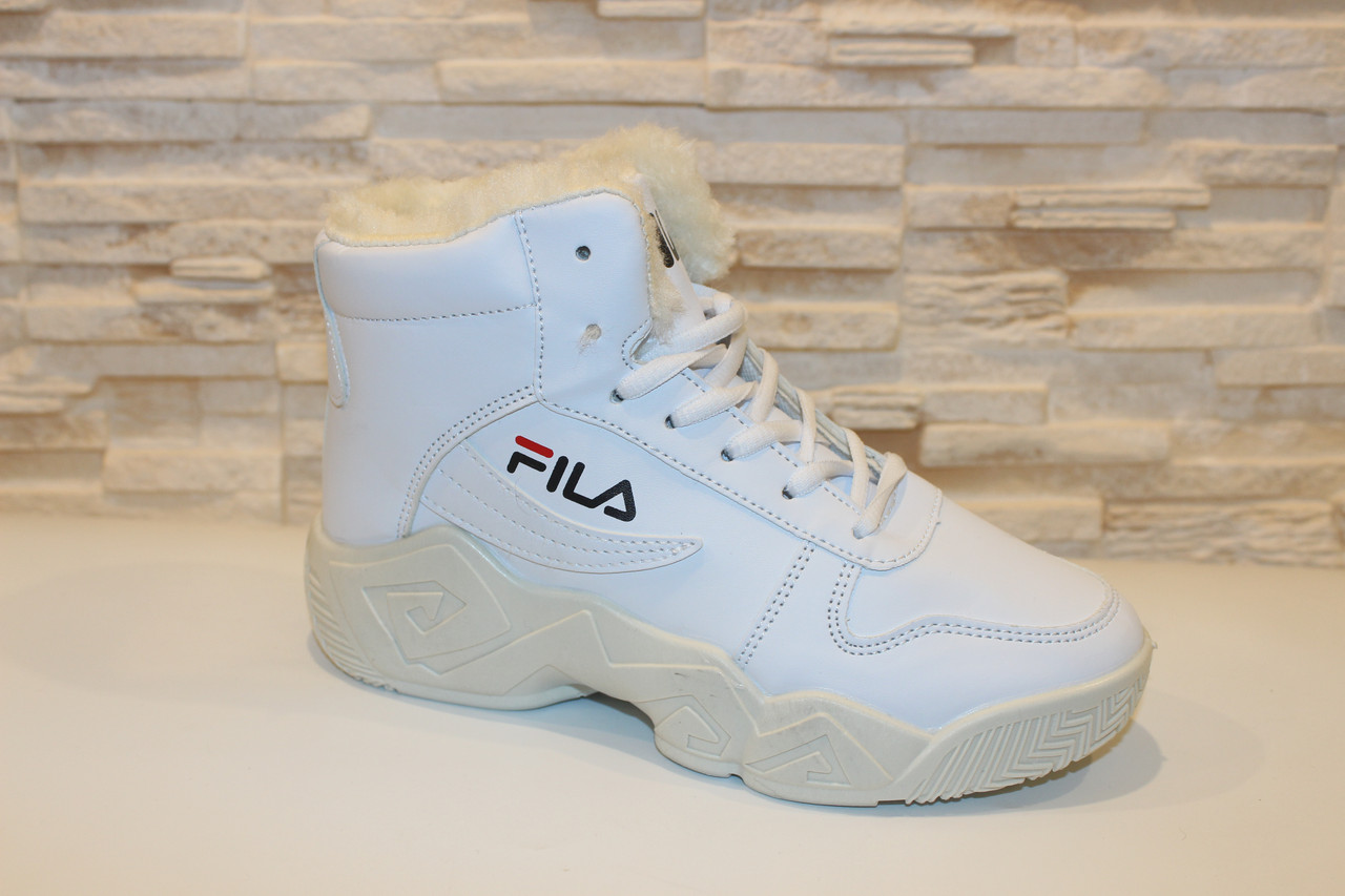 Ботинки женские белые зимние С924