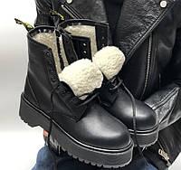 Ботинки зимние женские Dr. Martens Platform JADON Mono теплые черные с мехом 36-40р. Фото в живую. Топ реплика
